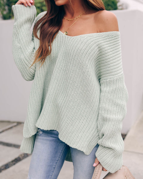 Locals Cotton V-Neck Sweater - Sage - FINAL SALE