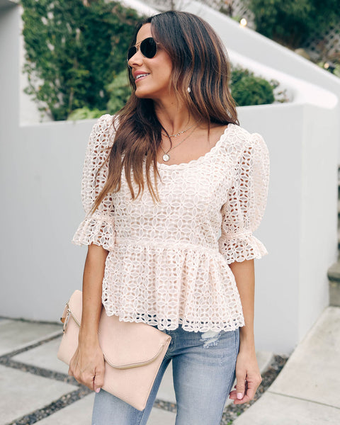 Imaginative Crochet Lace Peplum Top - FINAL SALE