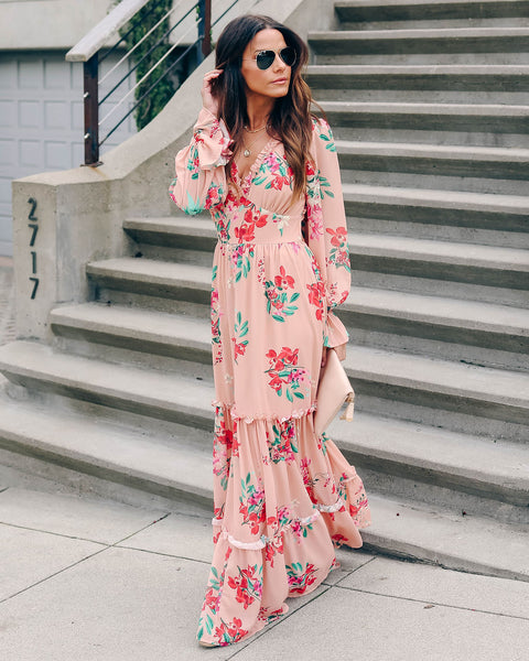 A Bit Of Whimsy Backless Ruffle Maxi Dress