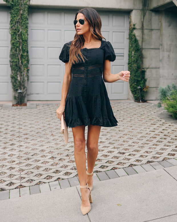 Fanciful Cotton Button Down Eyelet Dress - Black - FINAL SALE