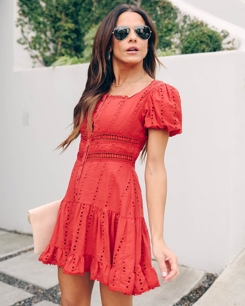Fanciful Cotton Button Down Eyelet Dress - Rust  - FINAL SALE