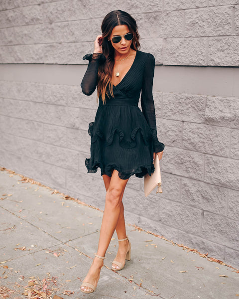 Ring In The New Year Ruffle Dress - Black