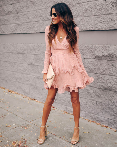 Ring In The New Year Ruffle Dress - Rose