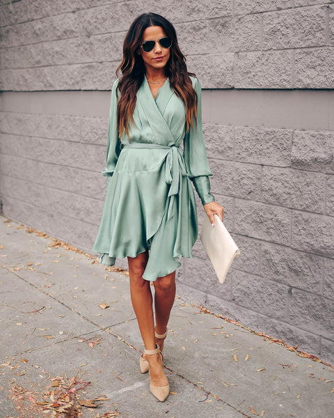 Savor The Hour Satin Wrap Dress - Sage