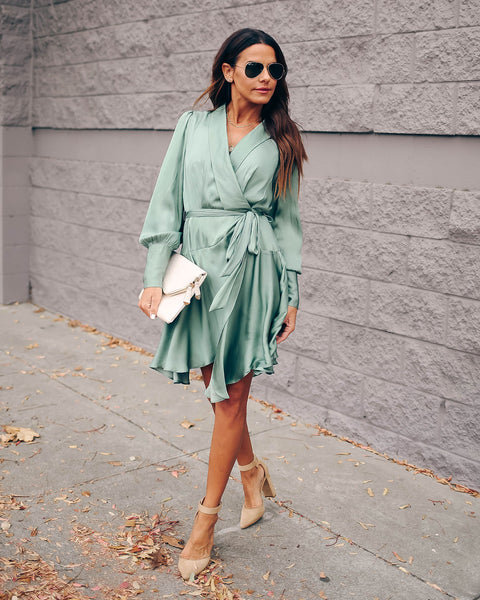 Savor The Hour Satin Wrap Dress - Sage - FINAL SALE
