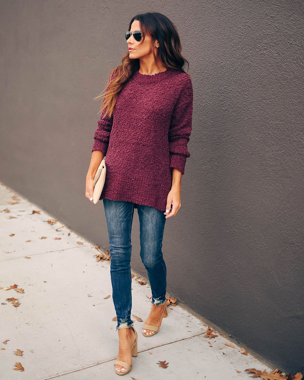Under The Weather Knit Sweater - Plum - FINAL SALE