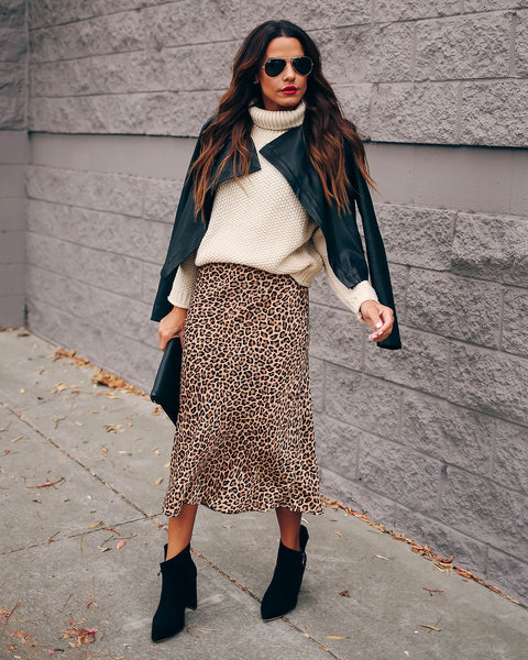 Noteworthy Satin Leopard Midi Skirt