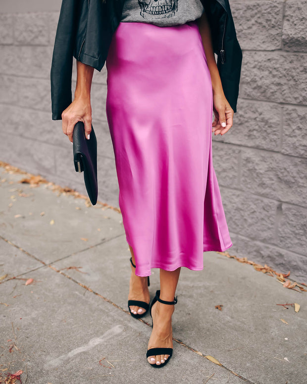 Opulent Satin Midi Skirt - Fuchsia - FINAL SALE