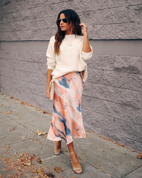 Those You Love Satin Tie Dye Midi Skirt