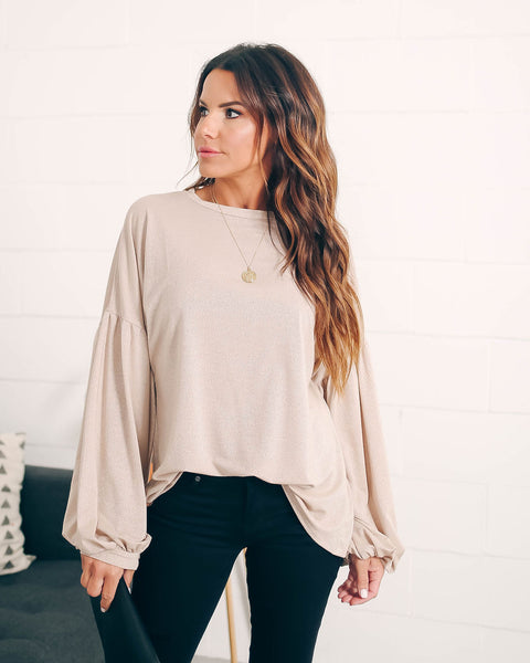 The Perfect Gift Lantern Sleeve Metallic Blouse