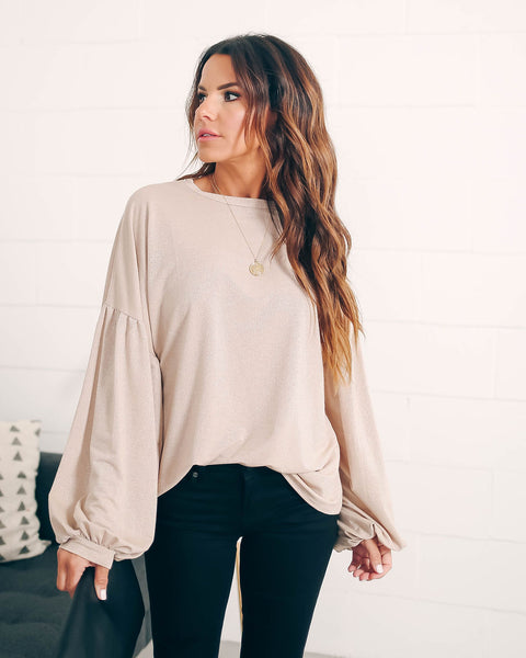 The Perfect Gift Lantern Sleeve Metallic Blouse - FINAL SALE