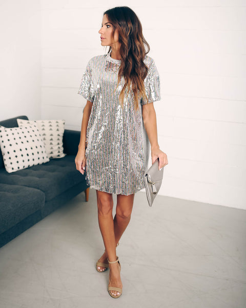 Glitzy Girl Sequin Contrast T-Shirt Dress