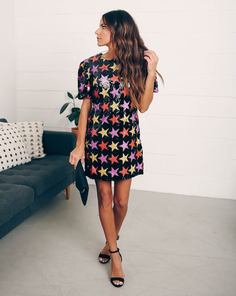 Irresistible Sequin Puff Sleeve Shift Dress - FINAL SALE