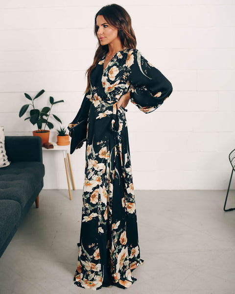 Venetia Floral Satin Wrap Maxi Dress