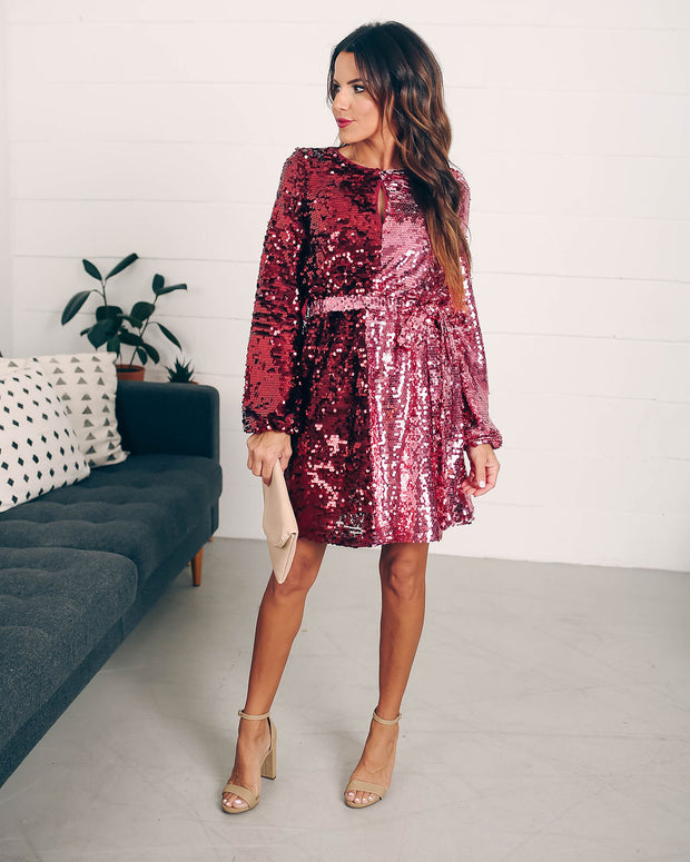 Set Your Sights Sequin Two-Tone Dress  - FINAL SALE view 1