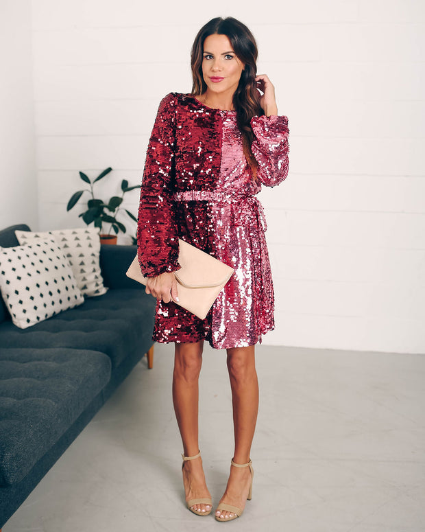 Set Your Sights Sequin Two-Tone Dress  - FINAL SALE view 2