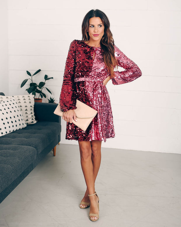 Set Your Sights Sequin Two-Tone Dress  - FINAL SALE view 4