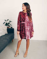 Set Your Sights Sequin Two-Tone Dress  - FINAL SALE