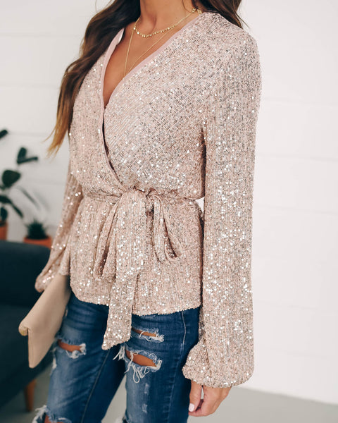 Katniss Sequin Peplum Tie Top