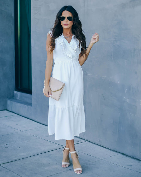 Inhale The Good Crochet Ruffle Wrap Midi Dress - Off White