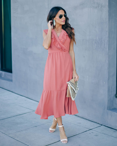 Inhale The Good Crochet Ruffle Wrap Midi Dress - Terracotta