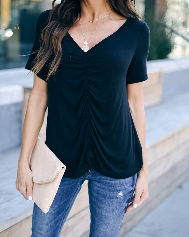 Felt Cute Ruched Knit Top - Black - FINAL SALE