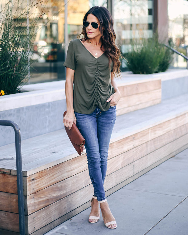 Felt Cute Ruched Knit Top - Deep Olive - FINAL SALE