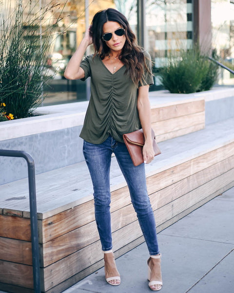 Felt Cute Ruched Knit Top - Deep Olive