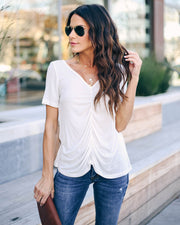 Felt Cute Ruched Knit Top - Off White  - FINAL SALE