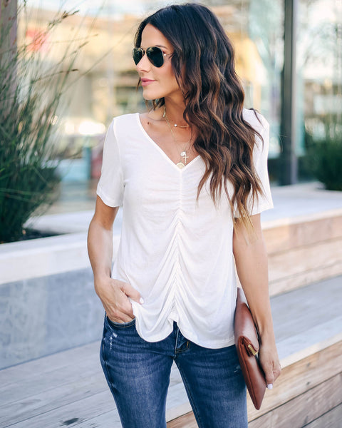 Felt Cute Ruched Knit Top - Off White