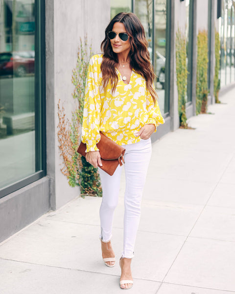 Lemon Zest Floral Smocked Top