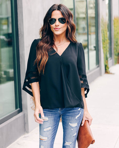 Sorry Not Sorry Surplice Bell Sleeve Top