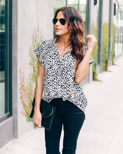 Homer Leopard Button Down Collared Top