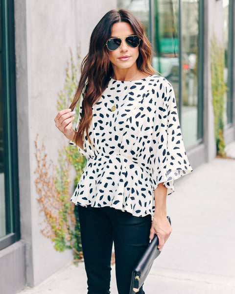 Over My Head Printed Peplum Blouse