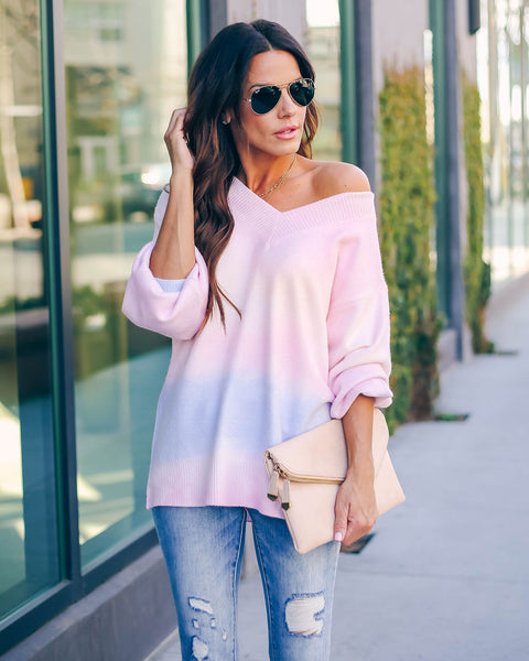 Full Of Possibilities Ombre V-Neck Sweater