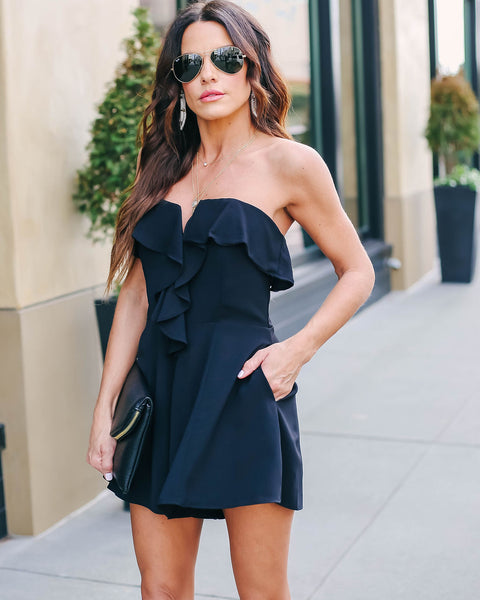 Sommelier Strapless Pocketed Ruffle Romper - FINAL SALE