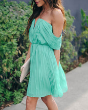 Prom Queen Off The Shoulder Pleated Dress - Kelly Green - FINAL SALE