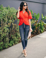 Can't Get Enough Short Sleeve Twist Blouse  - FINAL SALE view 2