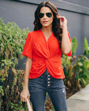 Can't Get Enough Short Sleeve Twist Blouse  - FINAL SALE view 3