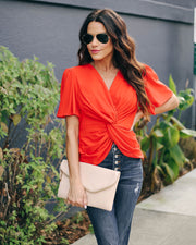 Can't Get Enough Short Sleeve Twist Blouse  - FINAL SALE view 5