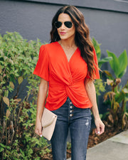 Can't Get Enough Short Sleeve Twist Blouse  - FINAL SALE view 1