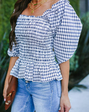 Hillcrest Square Neck Smocked Plaid Top - FINAL SALE
