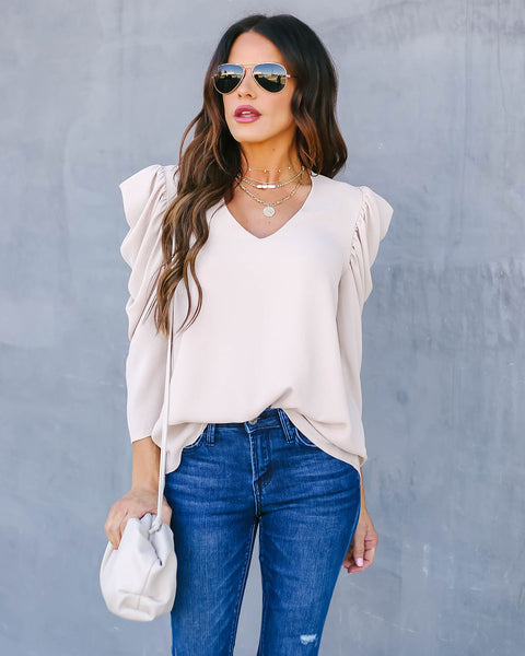Lori Statement Sleeve Top - Ecru