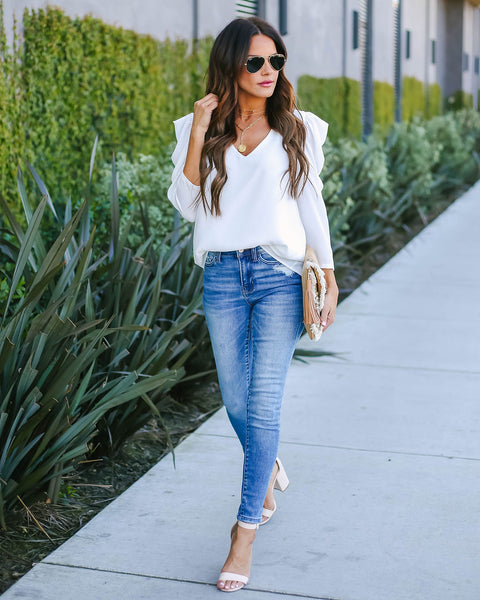 Lori Statement Sleeve Top - White