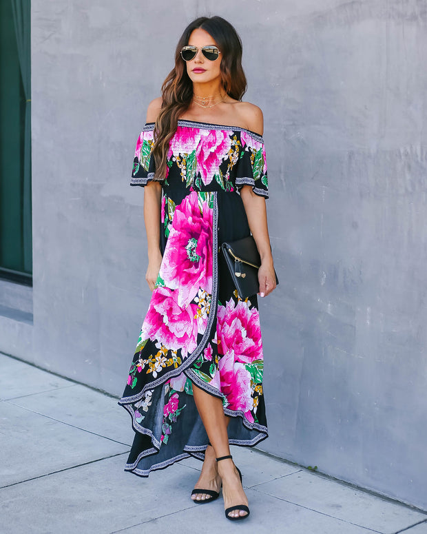 Aster Smocked Off The Shoulder High Low Maxi Dress