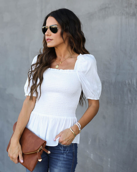 Mystic Muse Smocked Peplum Top - Off White