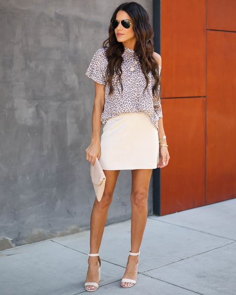 Claim To Fame Faux Suede Mini Skirt - Stone - FINAL SALE