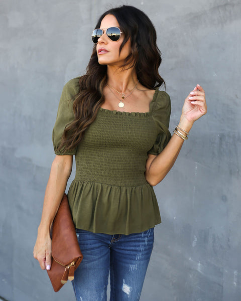 Mystic Muse Smocked Peplum Top - Olive