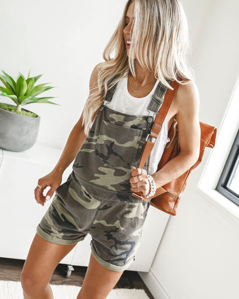 PREORDER - Can't Find Me Camo Pocketed Overall Shorts