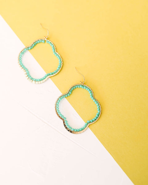 Over A Clover Beaded Earrings - Teal